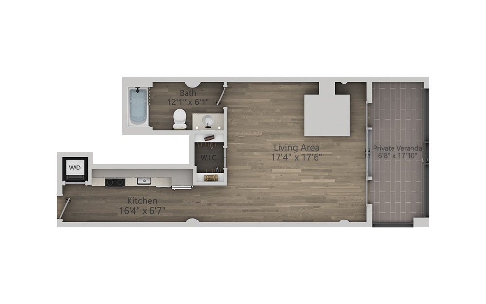1A - Studio floorplan layout with 1 bath and 706 square feet. (2D)