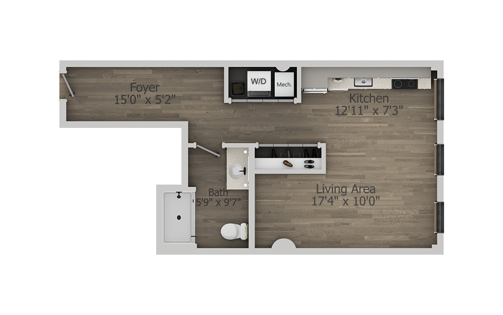 1AA - Studio floorplan layout with 1 bath and 535 square feet. (2D)