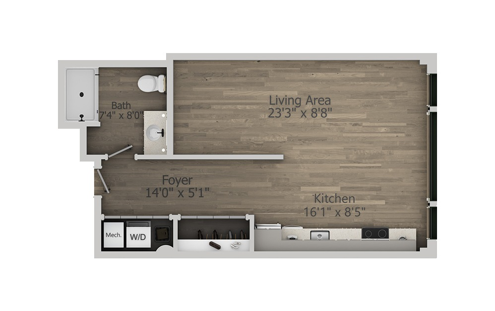 1B - Studio floorplan layout with 1 bath and 581 square feet. (2D)