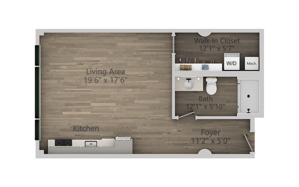 1C - Studio floorplan layout with 1 bath and 584 square feet. (2D)