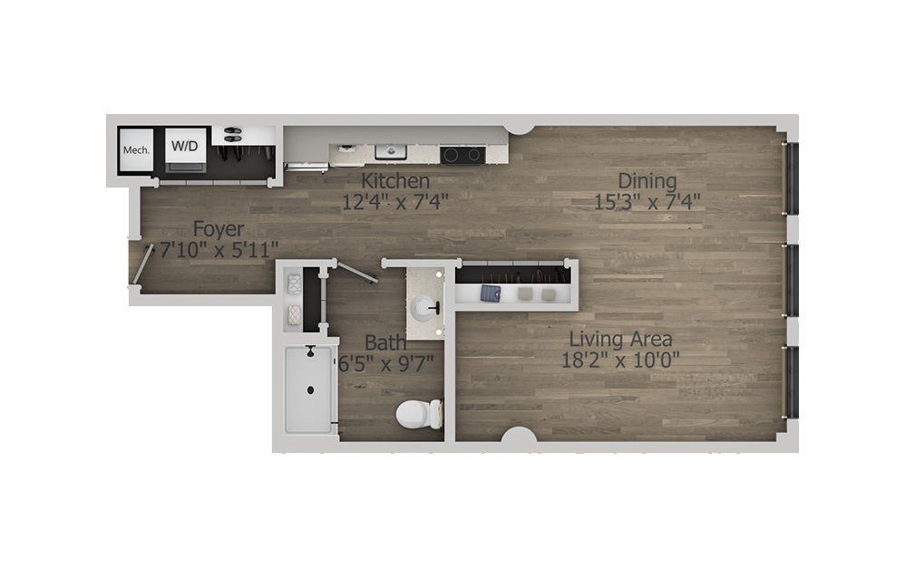 1D - Studio floorplan layout with 1 bath and 608 square feet. (2D)
