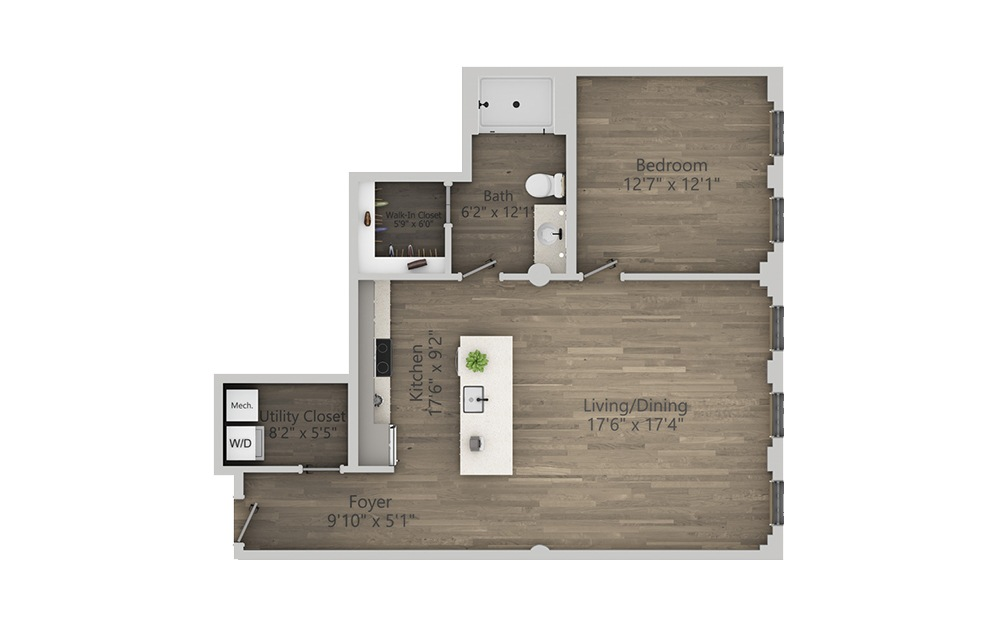 1E - 1 bedroom floorplan layout with 1 bath and 861 square feet. (2D)