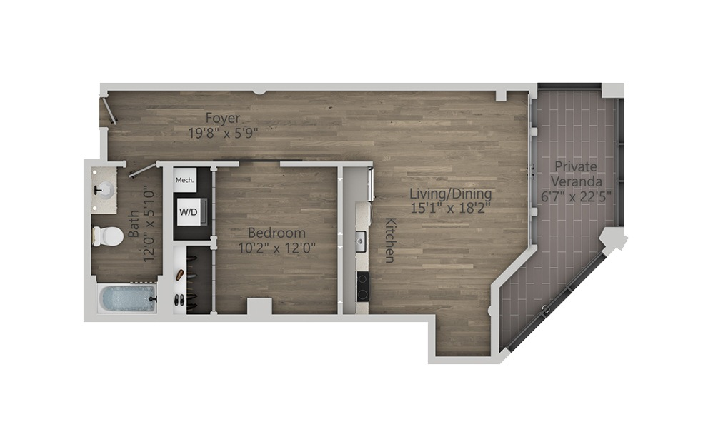 1F - 1 bedroom floorplan layout with 1 bath and 805 square feet. (2D)
