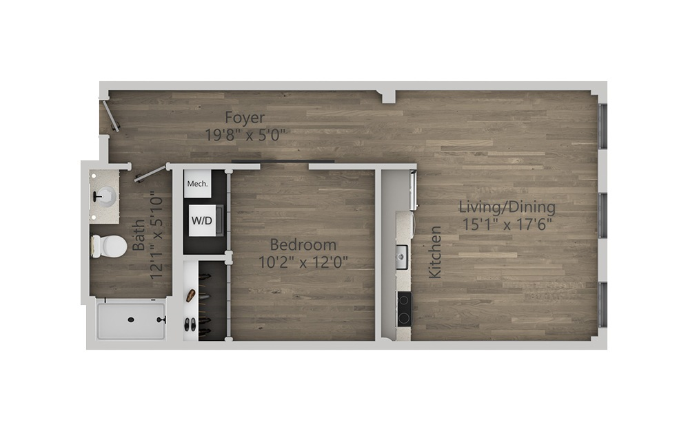 1G - 1 bedroom floorplan layout with 1 bath and 655 square feet. (2D)