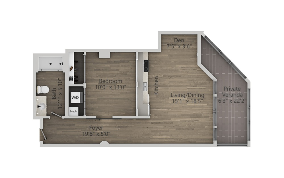 1J - 1 bedroom floorplan layout with 1 bath and 823 square feet. (2D)