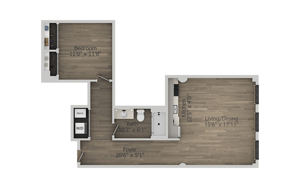 1K - 1 bedroom floorplan layout with 1 bath and 788 square feet. (2D)