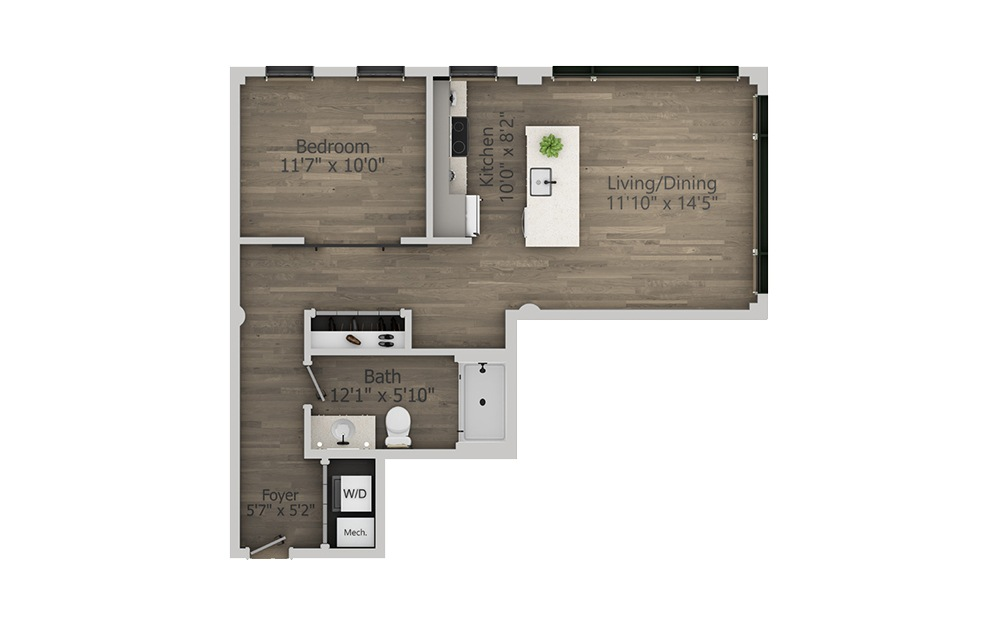 1L - 1 bedroom floorplan layout with 1 bath and 691 square feet. (2D)