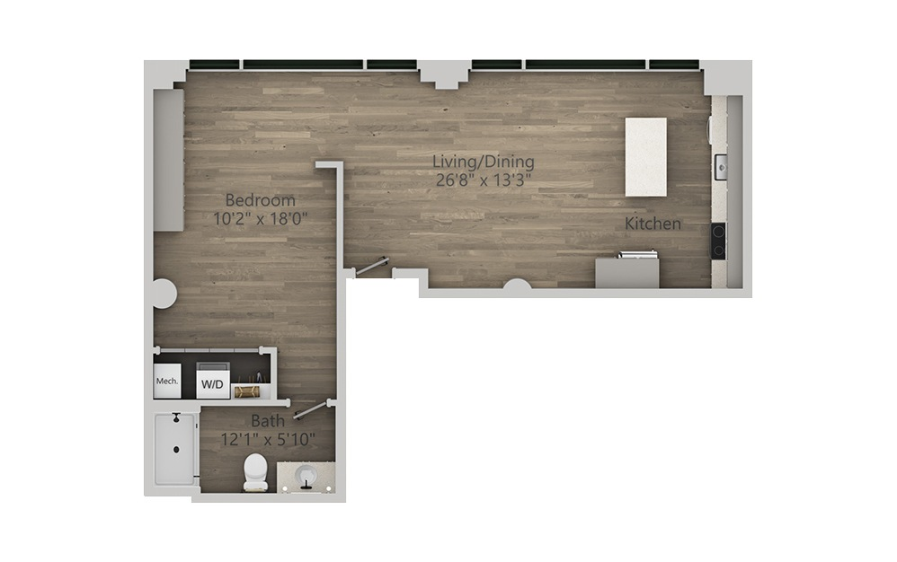 1M - 1 bedroom floorplan layout with 1 bath and 749 square feet. (2D)