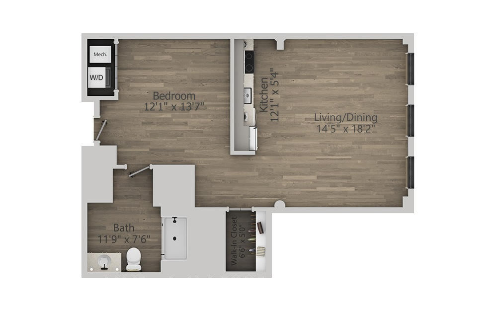1P - Studio floorplan layout with 1 bath and 785 square feet. (2D)