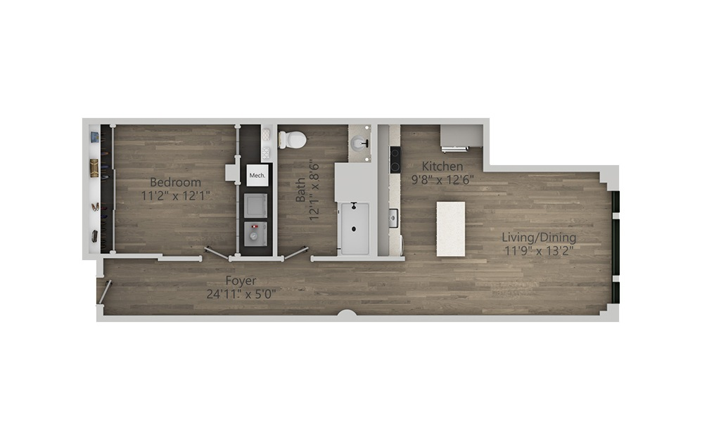 1R - 1 bedroom floorplan layout with 1 bath and 847 square feet. (2D)