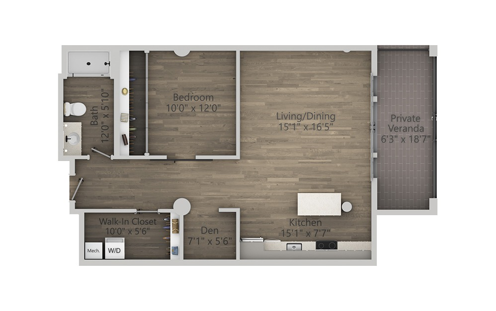 1S - 1 bedroom floorplan layout with 1 bath and 1062 square feet. (2D)
