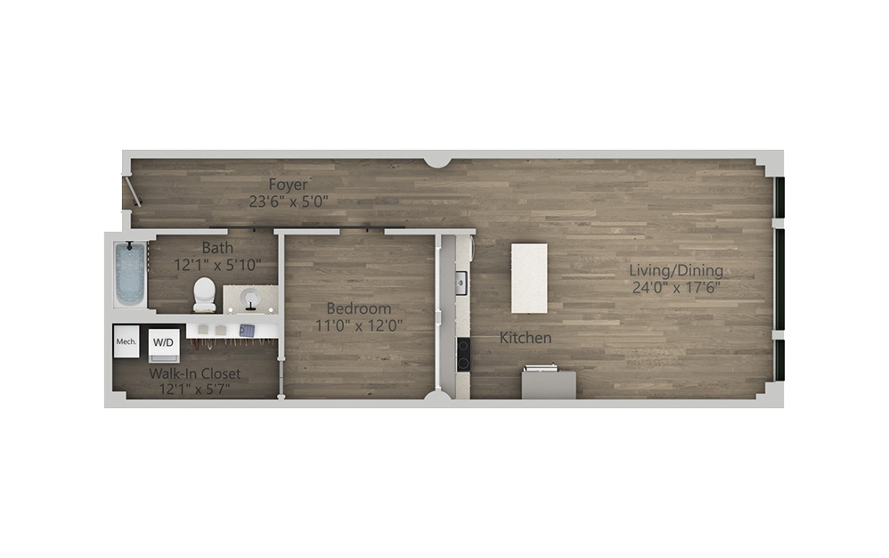 1T - 1 bedroom floorplan layout with 1 bath and 873 square feet. (2D)