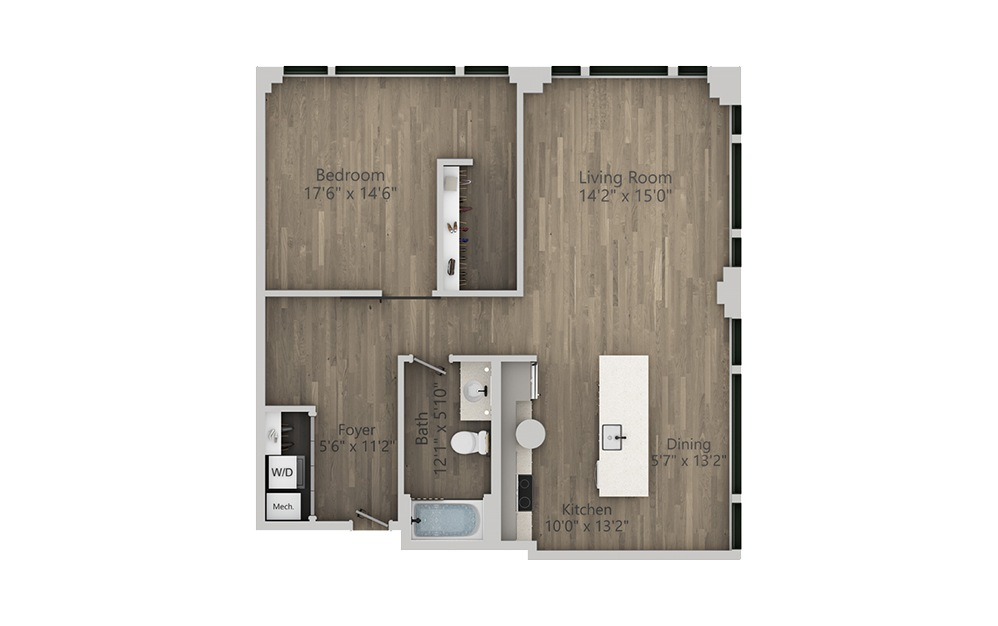 1U - 1 bedroom floorplan layout with 1 bath and 987 square feet. (2D)