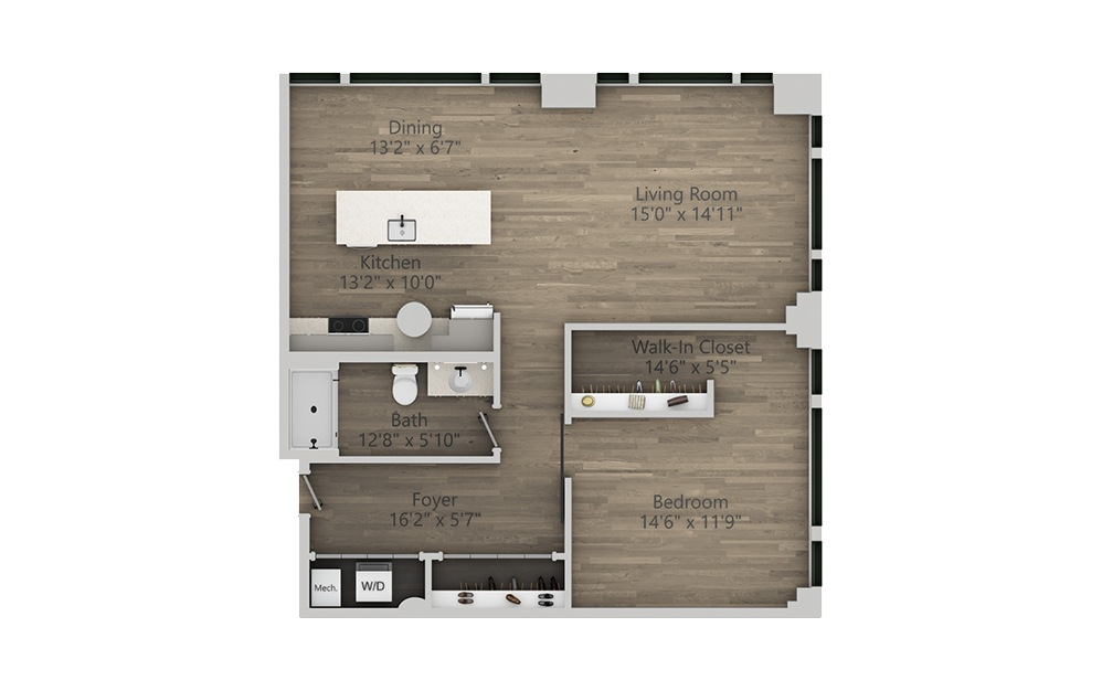 1V - 1 bedroom floorplan layout with 1 bath and 1030 square feet. (2D)