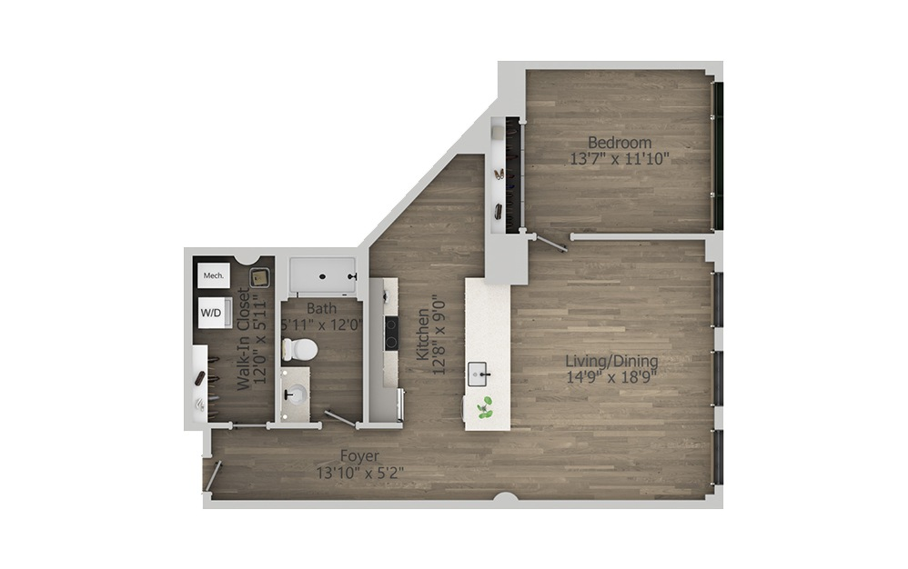 1W - 1 bedroom floorplan layout with 1 bath and 928 square feet. (2D)