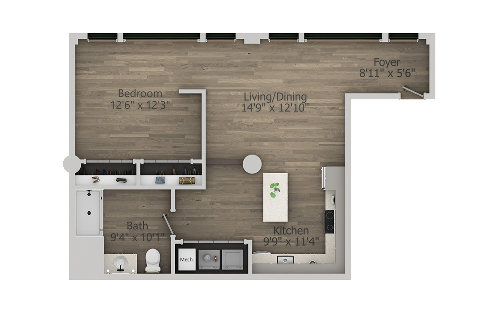 1Y - 1 bedroom floorplan layout with 1 bath and 787 square feet. (2D)