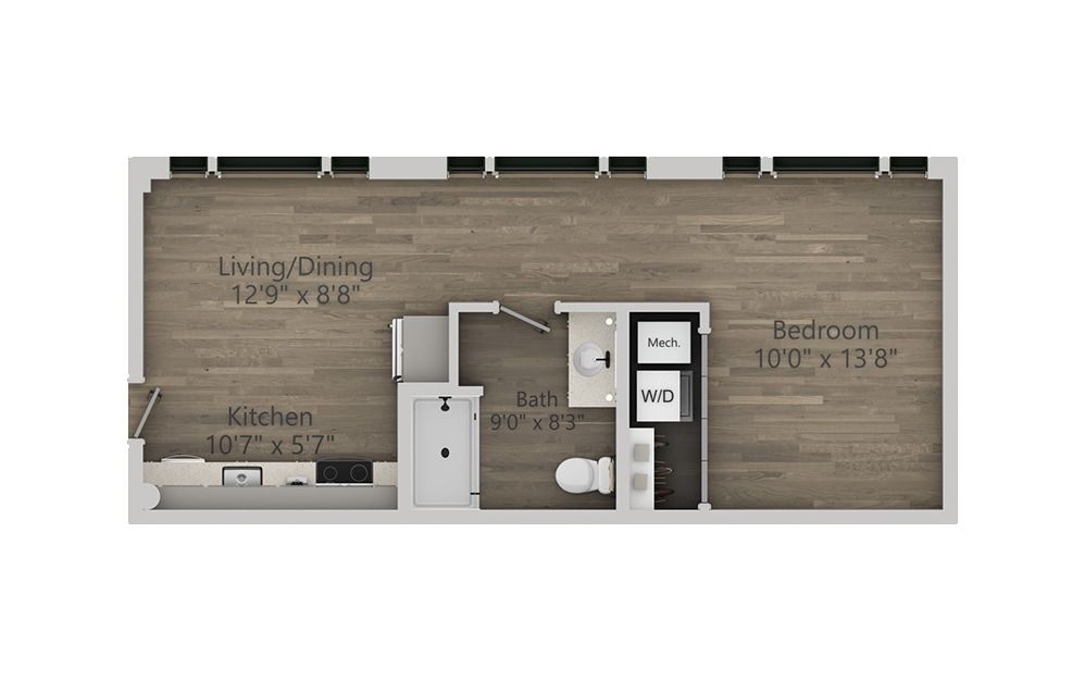 1Z - 1 bedroom floorplan layout with 1 bath and 474 square feet. (2D)