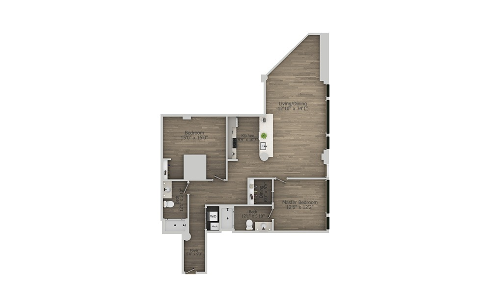 2A - 2 bedroom floorplan layout with 2 baths and 1318 square feet. (2D)