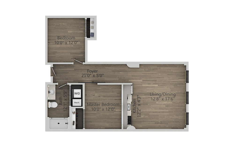 2B - 2 bedroom floorplan layout with 1 bath and 842 square feet. (2D)