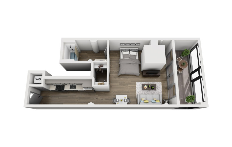 1A - Studio floorplan layout with 1 bath and 706 square feet. (3D)