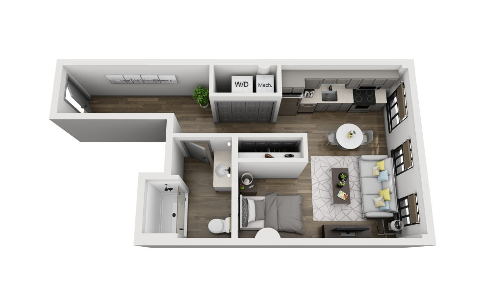1AA - Studio floorplan layout with 1 bath and 535 square feet. (3D)