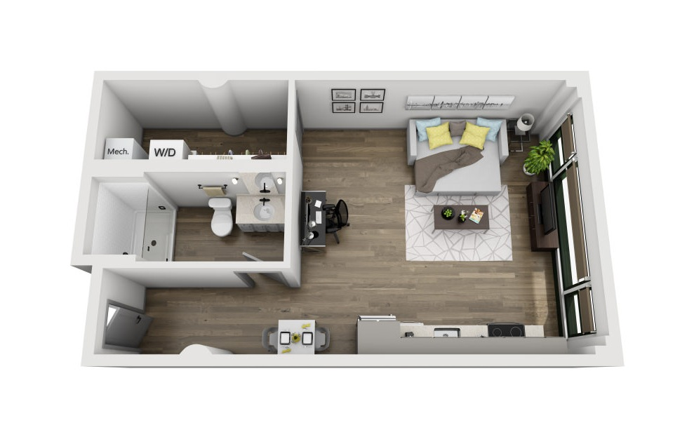 1B - Studio floorplan layout with 1 bath and 581 square feet. (3D)