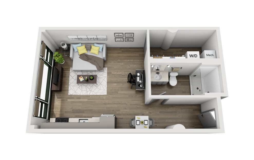 1C - Studio floorplan layout with 1 bath and 584 square feet. (3D)