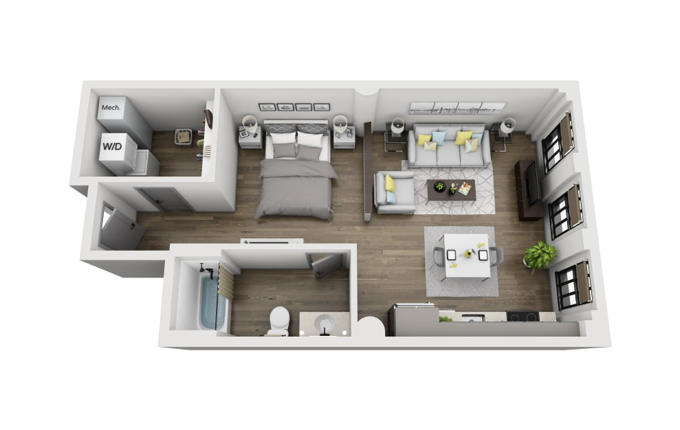 1D - Studio floorplan layout with 1 bath and 608 square feet. (3D)