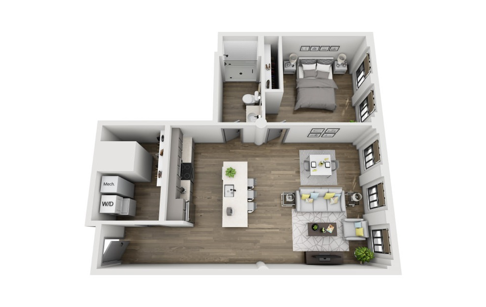 1E - 1 bedroom floorplan layout with 1 bath and 861 square feet. (3D)
