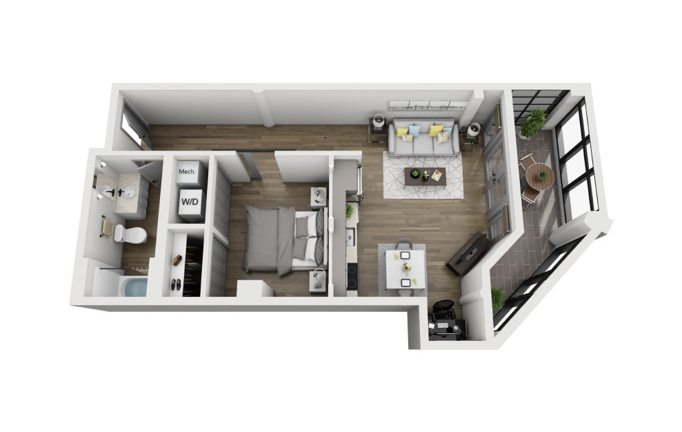 1F - 1 bedroom floorplan layout with 1 bath and 805 square feet. (3D)