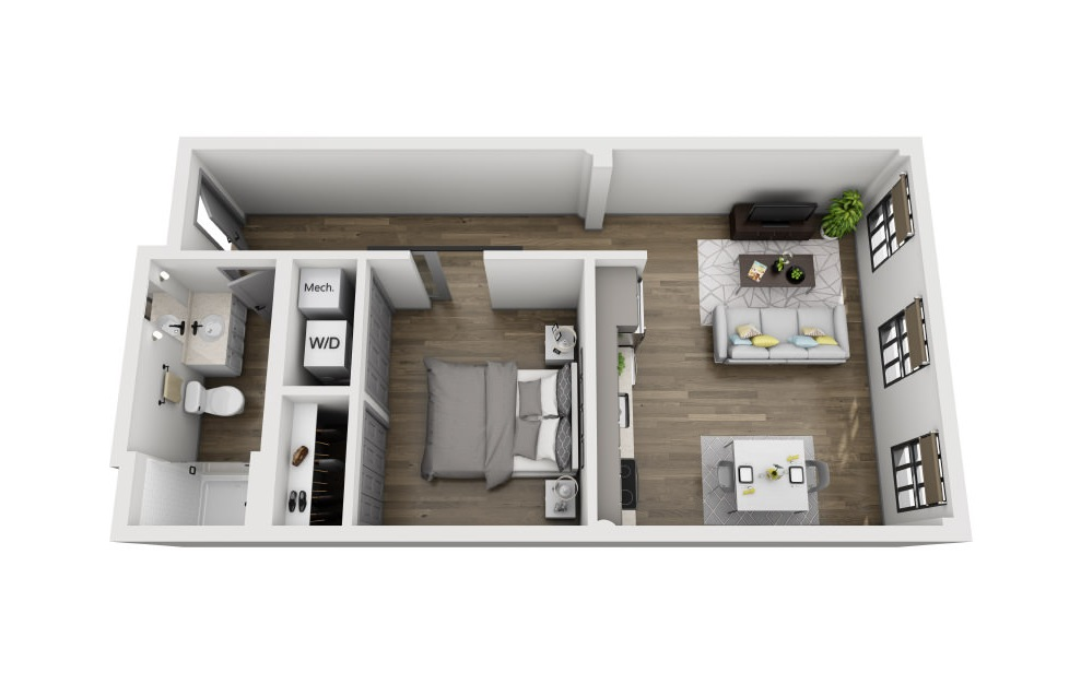 1G - 1 bedroom floorplan layout with 1 bath and 655 square feet. (3D)