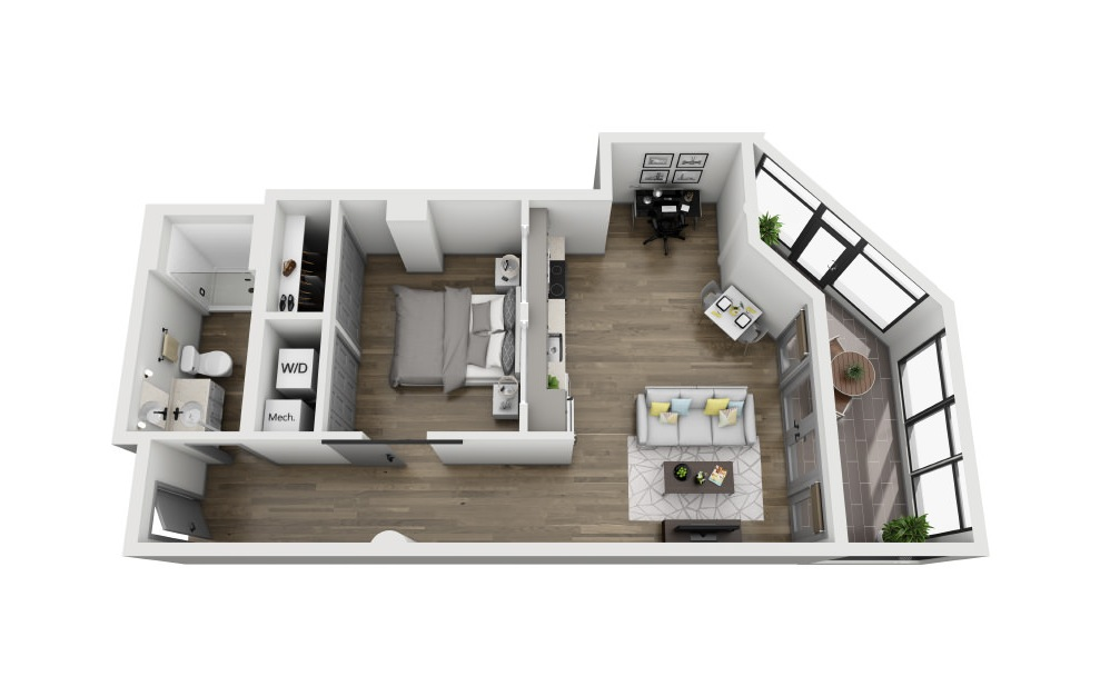 1J - 1 bedroom floorplan layout with 1 bath and 823 square feet. (3D)