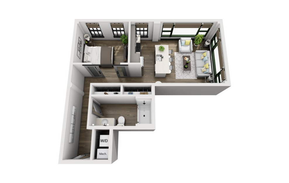 1L - 1 bedroom floorplan layout with 1 bath and 691 square feet. (3D)