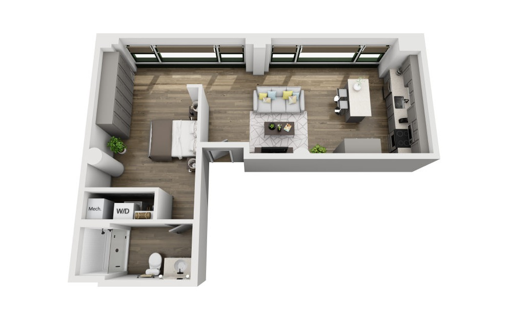 1M - 1 bedroom floorplan layout with 1 bath and 749 square feet. (3D)