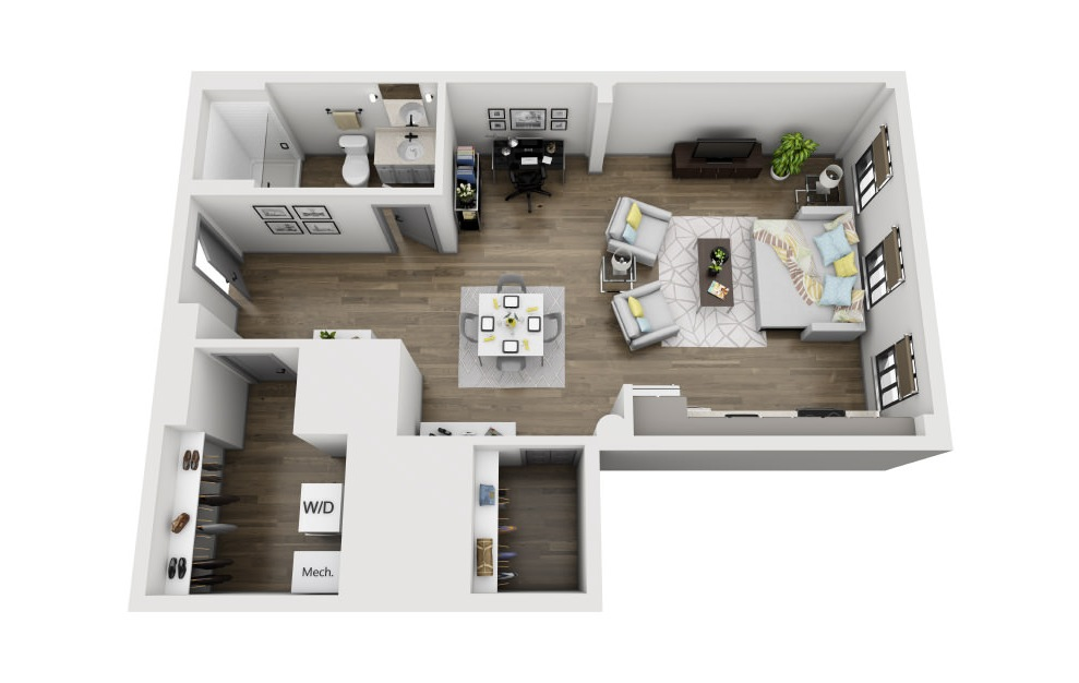 1P - Studio floorplan layout with 1 bath and 785 square feet. (3D)