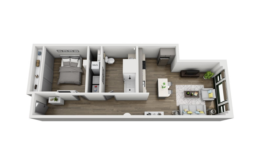 1R - 1 bedroom floorplan layout with 1 bath and 847 square feet. (3D)