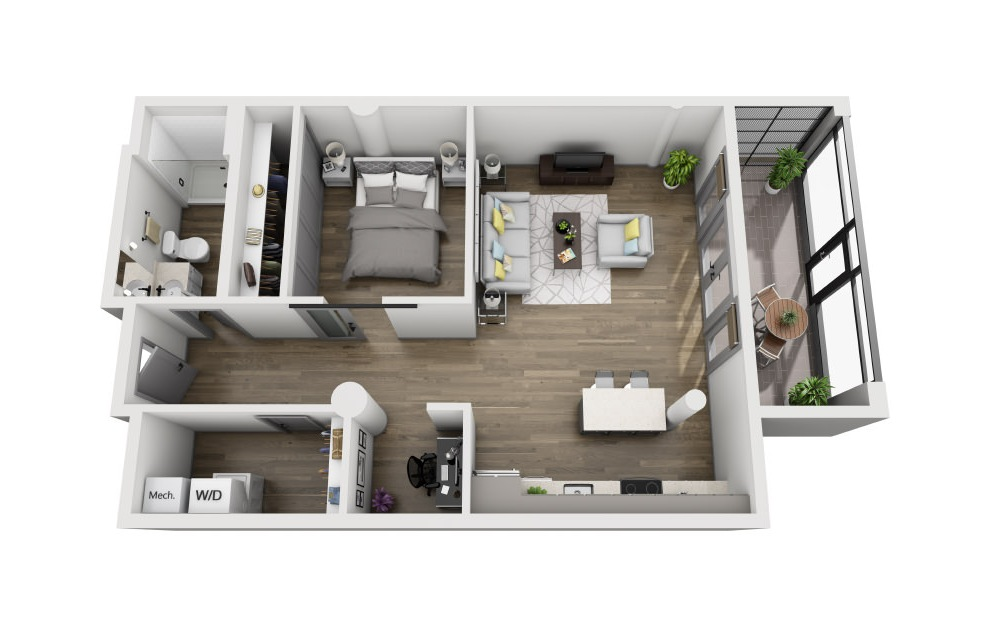 1S - 1 bedroom floorplan layout with 1 bath and 1062 square feet. (3D)