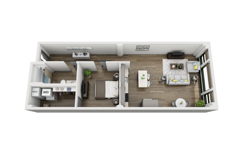 1T - 1 bedroom floorplan layout with 1 bath and 873 square feet. (3D)