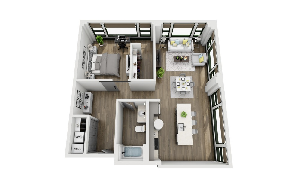 1U - 1 bedroom floorplan layout with 1 bath and 987 square feet. (3D)
