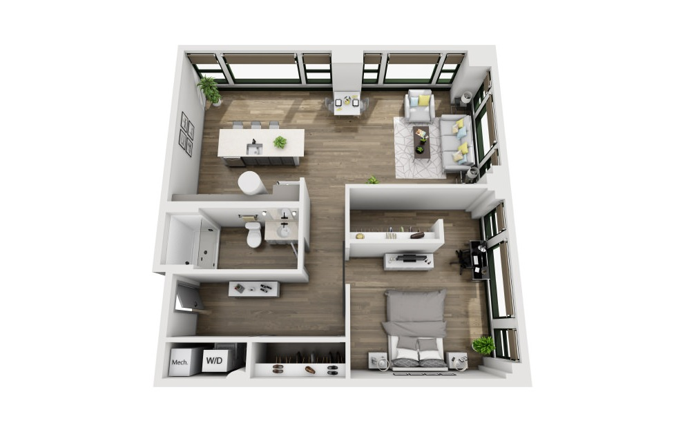 1V - 1 bedroom floorplan layout with 1 bath and 1030 square feet. (3D)