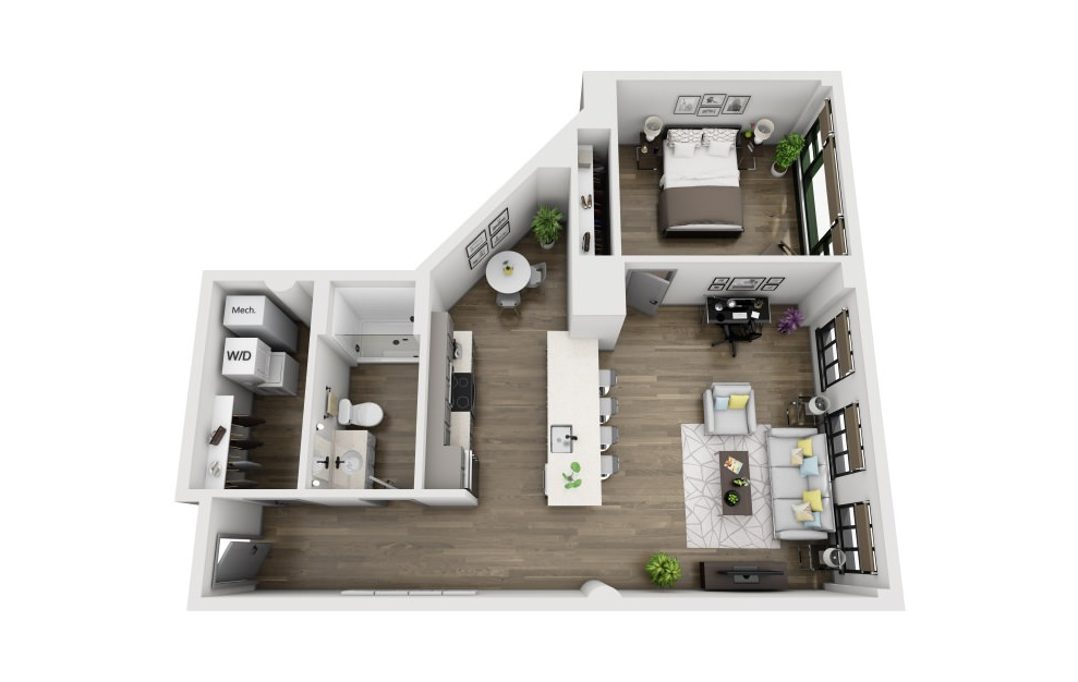 1W - 1 bedroom floorplan layout with 1 bath and 928 square feet. (3D)