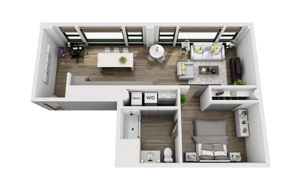 1X - 1 bedroom floorplan layout with 1 bath and 800 square feet. (3D)