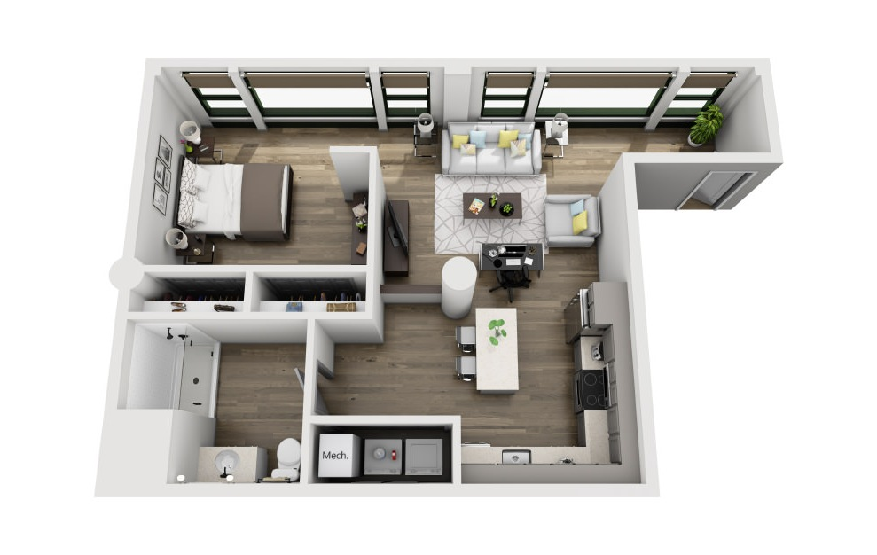 1Y - 1 bedroom floorplan layout with 1 bath and 787 square feet. (3D)