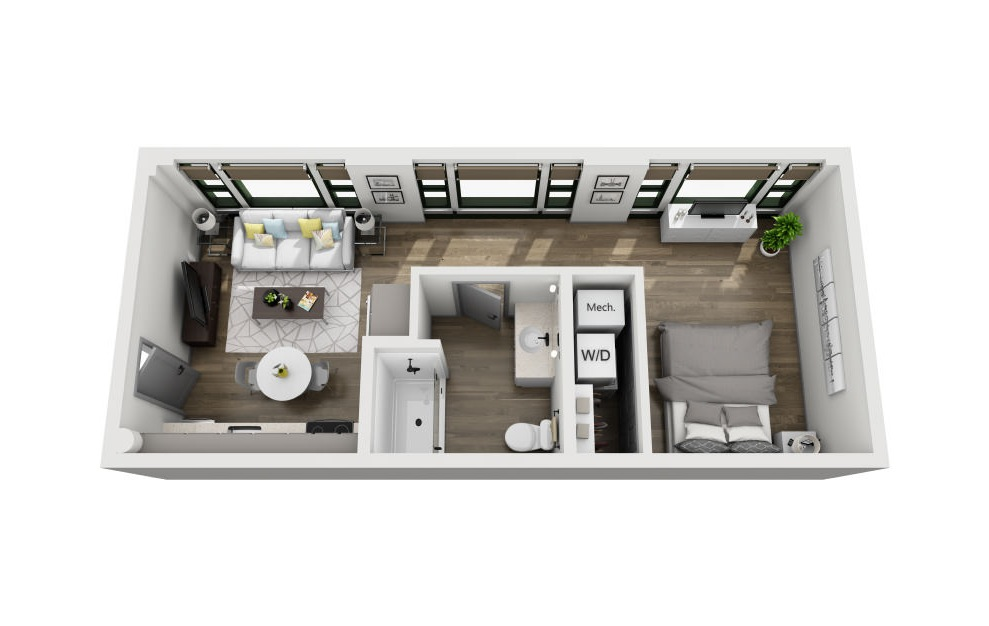 1Z - 1 bedroom floorplan layout with 1 bath and 474 square feet. (3D)