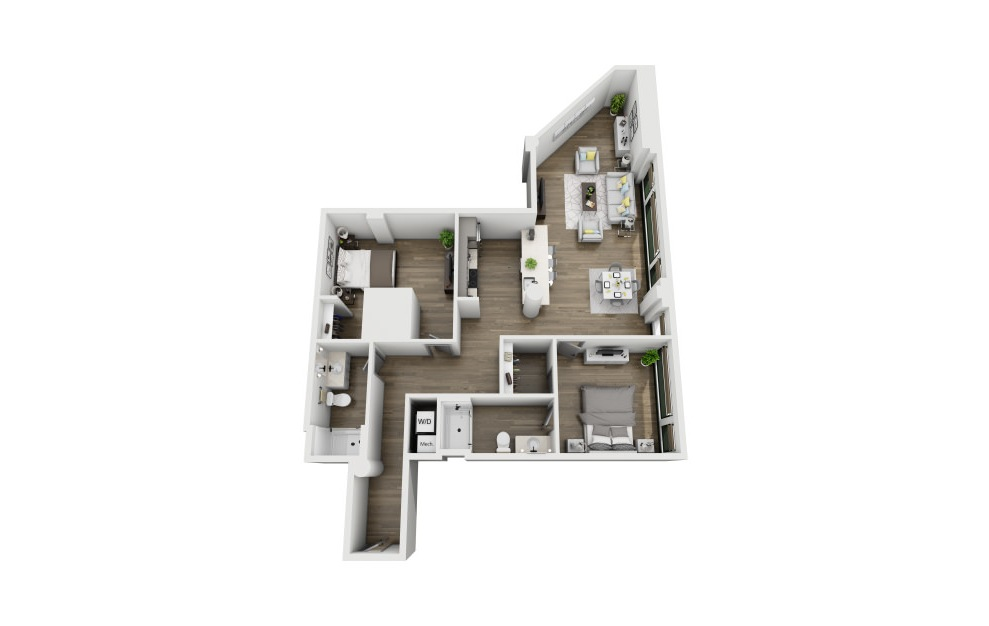 2A - 2 bedroom floorplan layout with 2 baths and 1318 square feet. (3D)