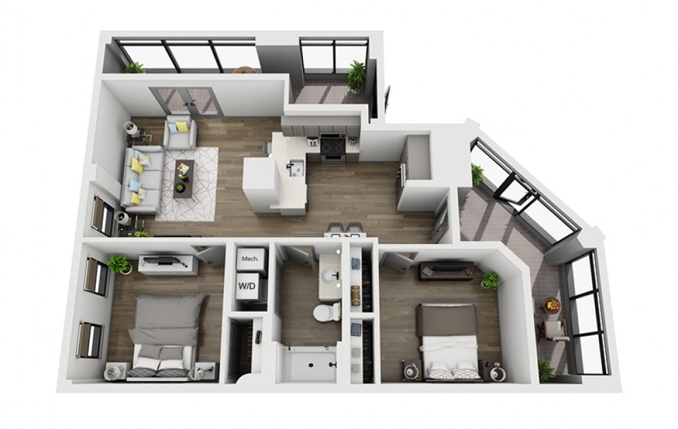 2C - 2 bedroom floorplan layout with 1 bath and 1147 square feet. (3D)
