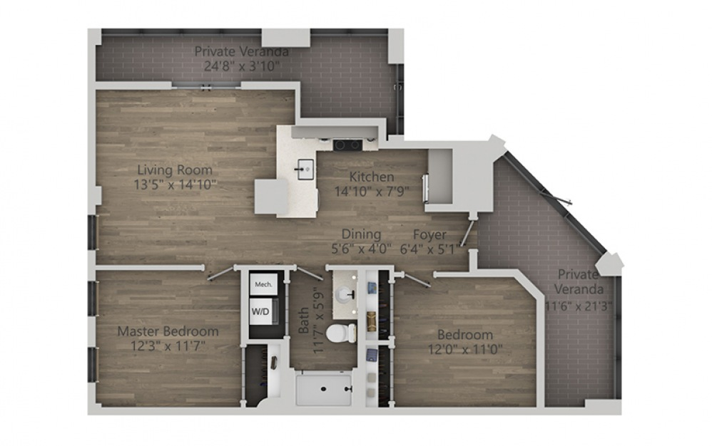 2C - 2 bedroom floorplan layout with 1 bath and 1147 square feet. (2D)